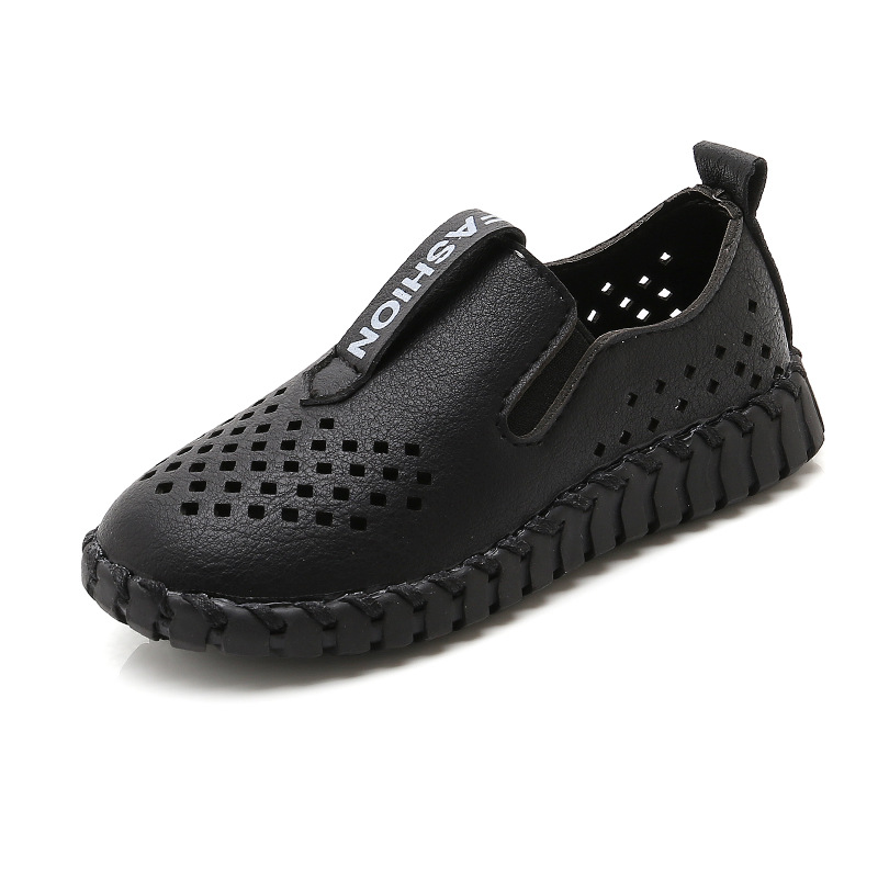 Fashion Boy Leather Shoes Boys PU Leather Sneakers Breathable Cut-outs Soft Kids Loafers With Holes All-match Childrens Shoes