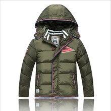 Дети мальчики зимняя одежда вниз пальто куртки верхняя одежда мода с капюшоном толстая белая утка вниз зимняя одежда для мальчиков 6-13 Т
