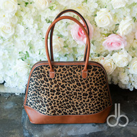 (Korte bont) Groothandel Blanks Luipaard Shell Draagtas Cheetah Vrouwen Handtas met twee ritssluiting Lederen Handvat DOM103399