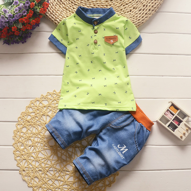 BibiCola Children's clothes baby boys summer clothing sets 2017 new litter boy casual short-sleeved T-shirt denim pants suit