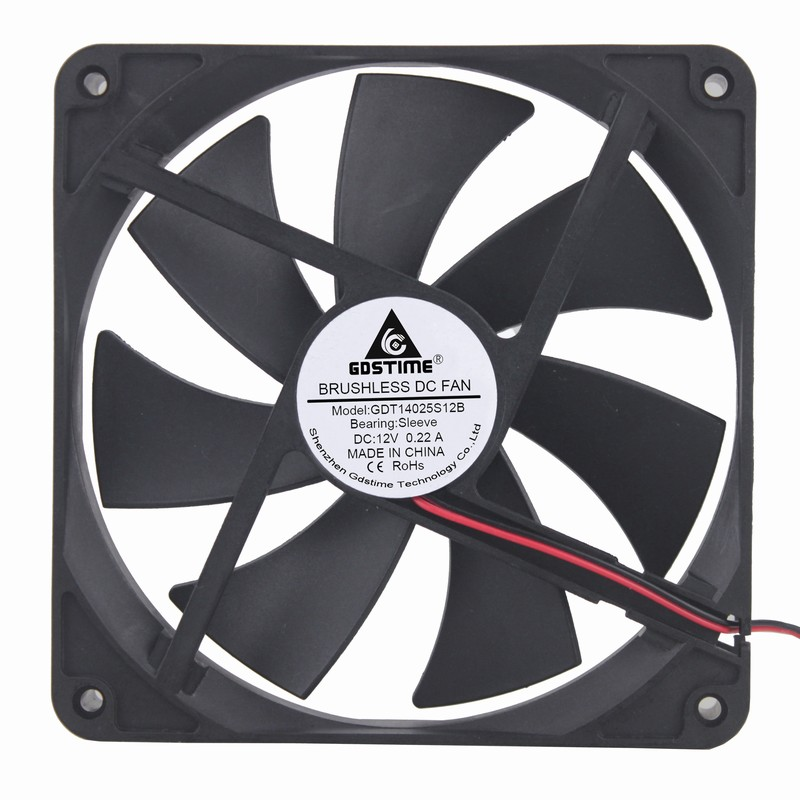 100 pcs Gdstime 140mm x 25mm 2Pin 14cm DC 12V Computer Case Brushless Cooler Cooling Fan Big Air Flow 140x140x25mm gdstime 10 pcs dc 12v 14025 pc case cooling fan 140mm x 25mm 14cm 2 wire 2pin connector computer 140x140x25mm
