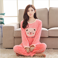 New Autumn winter women pajamas lovely Flannel Home clothing Round neck long sleeve Cartoon characters Winnie the Pooh sleepwear