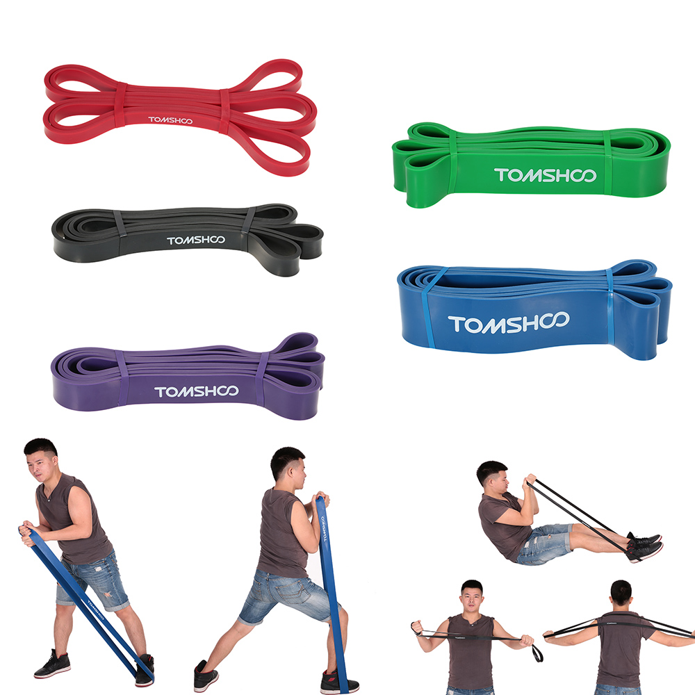 Tomshoo 208cm Workout Loop Band Pull Up Assist Band Stretch Resistance Band Powerlifting Bodybulding Yoga Exercise Fitness