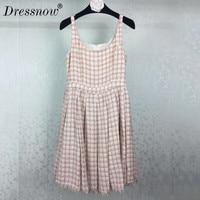 High Quality Tweed Dress For Women Runway Mini Dress Sumemr Spaghetti Strap Dresses Sleeveless