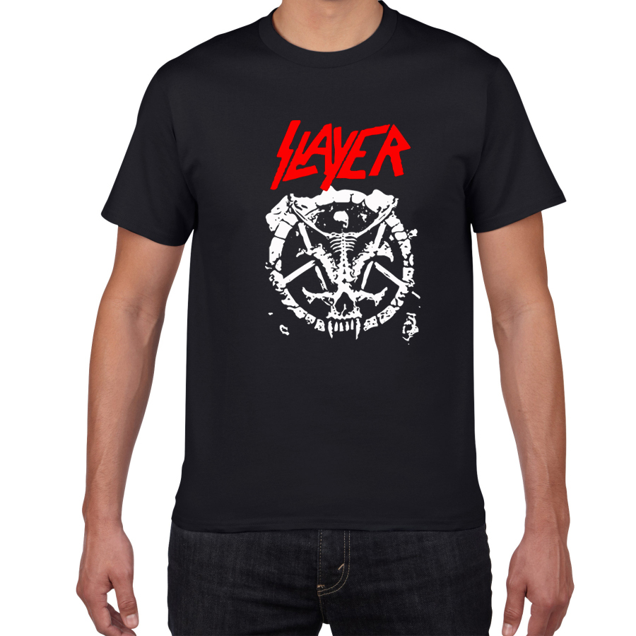Metal Band Men's T-shirt The Slayer 100% Cotton Streetwear T Shirt Men Punk Clothing Summer Cool Tee Shirt Homme Rock Pop Tshirt