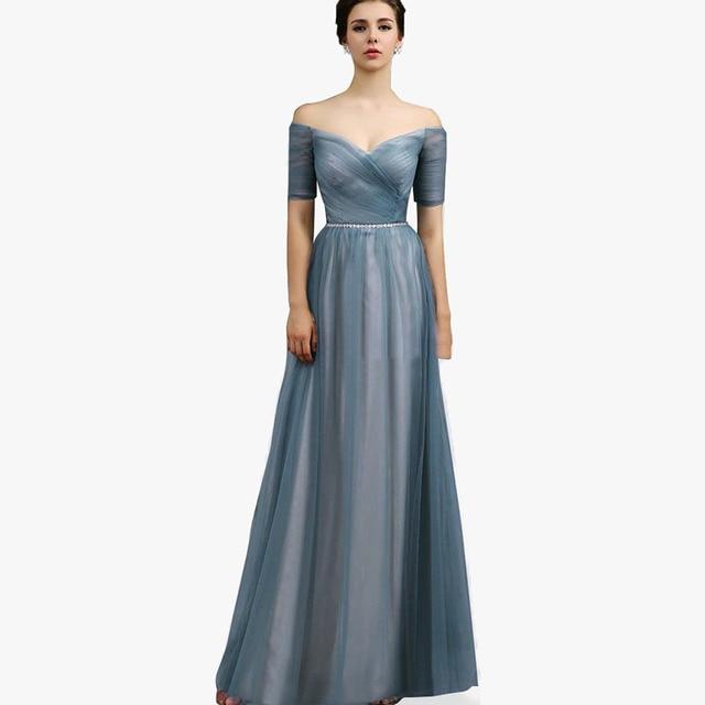 Smoke Gray Bridesmaid Dresses Long 2017 Short Cap Sleeves Wedding ...