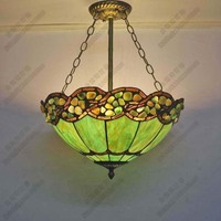 Mediterranean Painted Glass Chandelier Living Room Cafe Southeast Asia Creative LED Green Chandelier