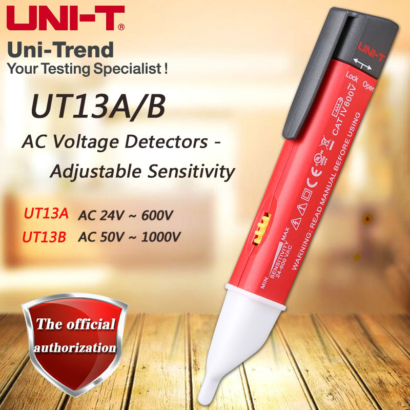 UNI-T UT13A UT13B AC <font><b>voltage</b></font> detector sensitivity adjustable / buzzer / flash / vibration / auto-sensing / low <font><b>voltage</b></font> display image