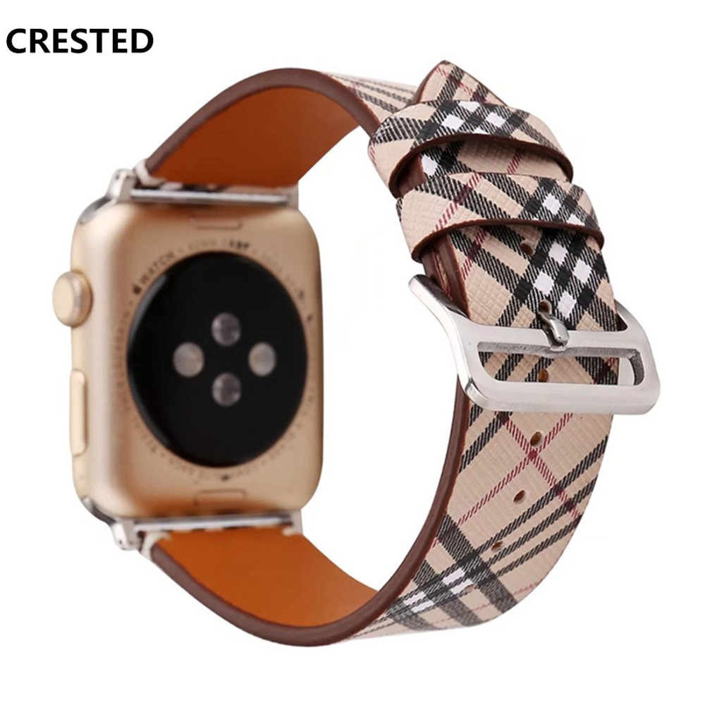 CRESTED Classic Leather Band for Apple Watch 4 44mm/40mm strap correa iwatch 3 2 1 42mm/38mm Wrist Bracelet Watchband belt for apple watch band 4 44mm 40mm leather strap correa 42mm 38mm bracelet wrist watchband iwatch series 4 3 2 1 replacement belt