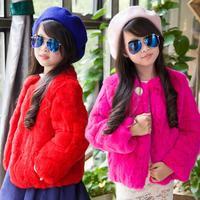 Autumn and Winter Children Fur Coat Girls Quilted Winter Short Rabbit Fur Coat Children Girls Coat