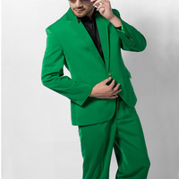 Custom Made Groomsmen Notch Lapel Groom Tuxedos Green Mens Suits Wedding Best Man 1 buttons Homecoming Suit(Jacket+Pants)