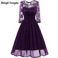 Mingli Tengda Purple Chiffon Mother of the Bride Dresses Lace Illusion Mother of the Bride Dress Elegant A Line Mother Dress