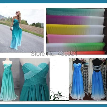 Shade Chifon Material 2 Tone 100D Chiffon Gradient Tissu Flowing Evening Dress Fabric For Wedding Gowns Tecido