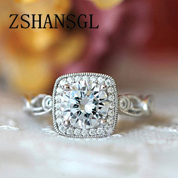 Fashion Ring Big 925 Sterling Silver Pave setting 5A CZ Zircon Rings for Women Bridal bijoux Claddagh Wedding Jewelry