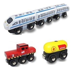 Image 2 - Kids Trein Speelgoed Houten Magnetische Trein James Anime Locomotief Auto Speelgoed Houten Trein Railway Voertuigen Kinderen Verjaardagscadeautjes