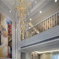 Phube освещение дуплекс здания большой лестницы Хрустальная люстра светодиодный свет люстры красочные застекленная люстры