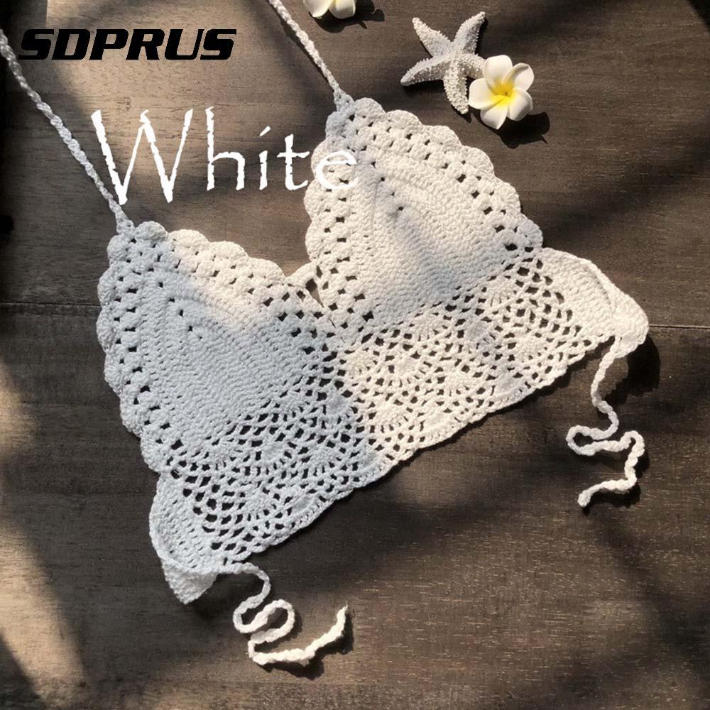 2018 New Women Summer Sexy Backless Crochet Knit Beach Knitting Halter Cami   Tank   Crop   Top   S / M / L / XL