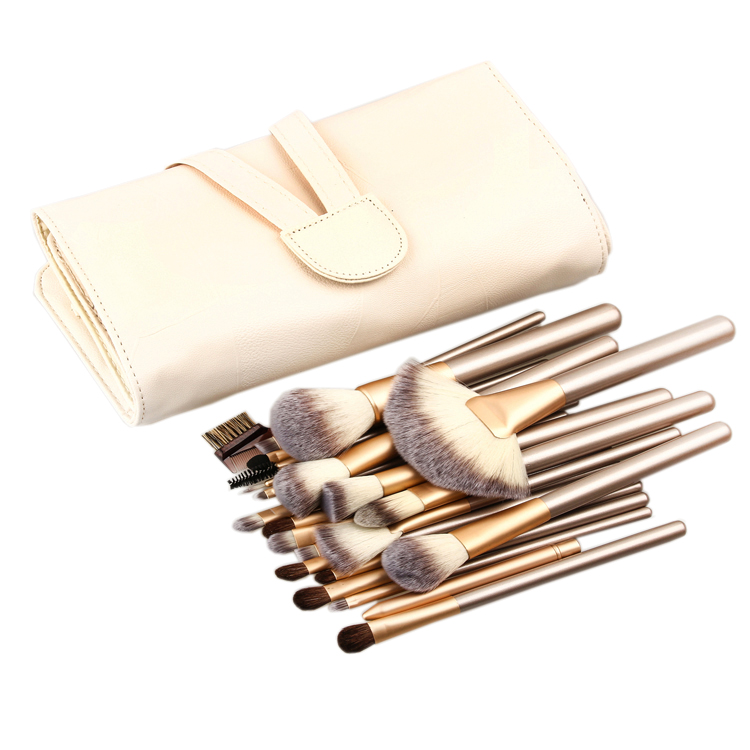 24pcs Makeup Brushes Set Cosmetic Make Up Tools Set Fan Foundation Powder Brush Eyeliner Brushes Leather Case with Pink Puff 24 pcs soft synthetic hair make up tools kit cosmetic beauty makeup brush sets foundation brushes with pink love heart case