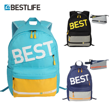 Купить с кэшбэком BESTLIFE mochilas mujer 2pc Girls School Bags mochila feminina Rubber Laptops Backpack Outdoor Travel Bags for Teen Preppy Style