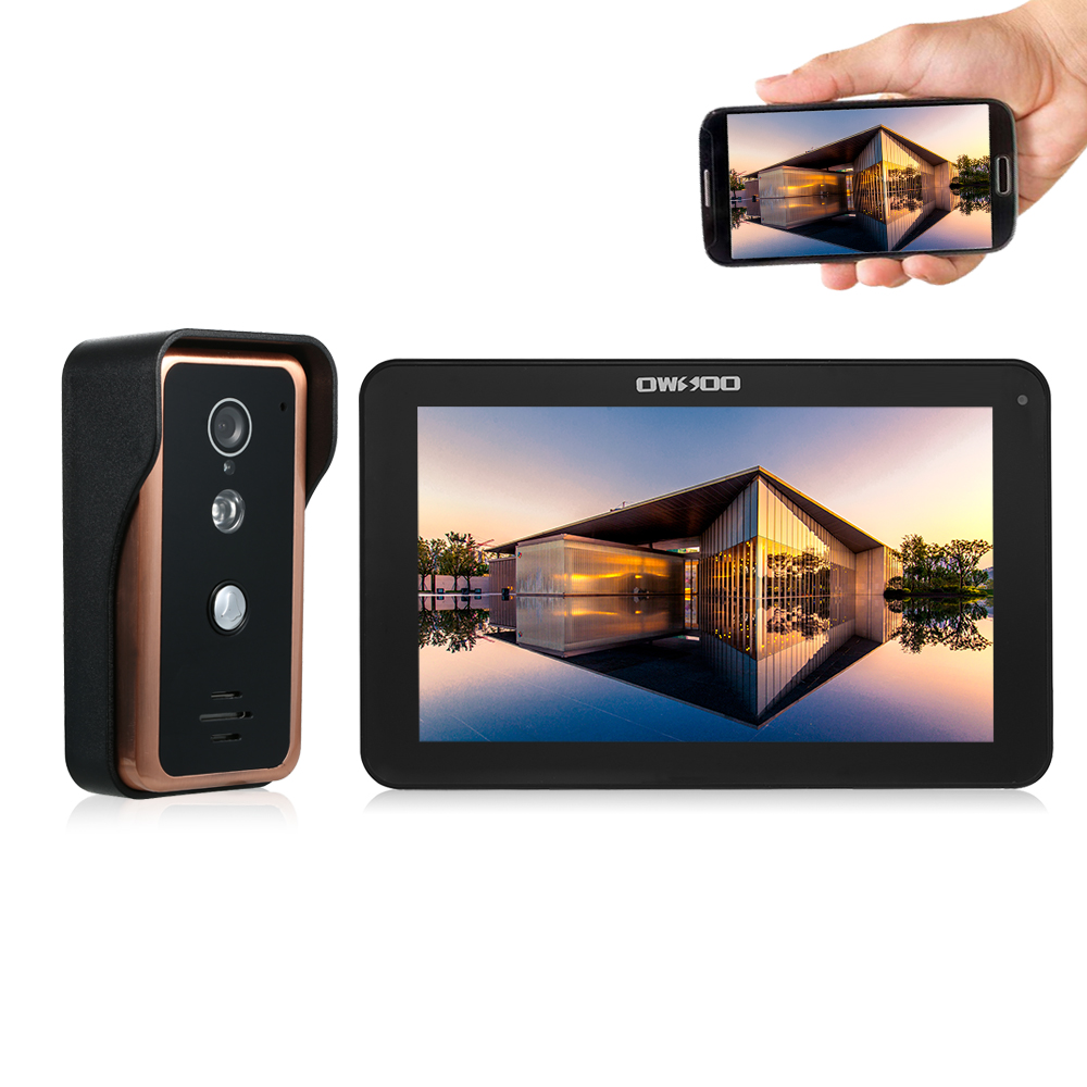 OWSOO 9'' Wired WIFI Video Door Phone Doorbell Intercom 1000TVL IR CUT Camera Support Night Vision Phone APP Remote Intercom-in Video Intercom from Security & Protection    1