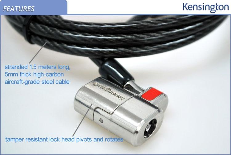 Image 3 - Kensington oryginalny Anti theft ClickSafe z kluczem laptopa Ultrabook blokady z 1.5 m kabel bezpieczeństwa łańcuch z opakowania detalicznego K64664laptop locklaptop security locklaptop cable lock -