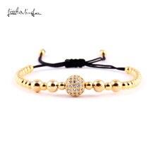 WML copper bead men bracelet Braiding Macrame Pave White CZ Ball bracelets & bangles for women Jewelry