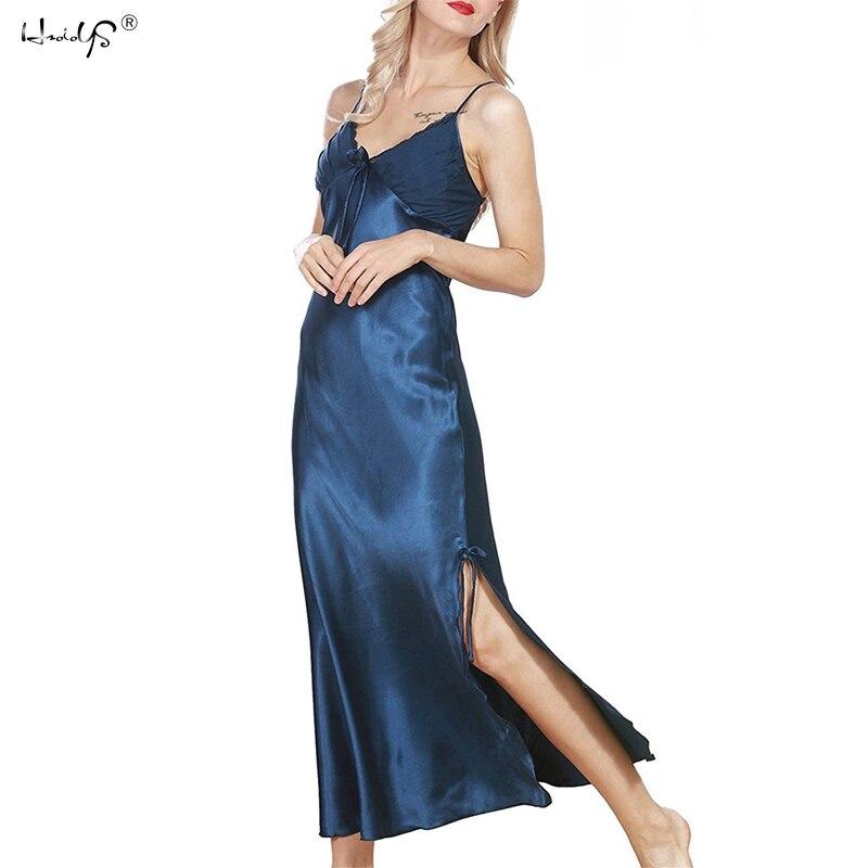 Women Sexy Lingerie  Nightdress Plus Size Lace Nightgown Nightie Negligee Silk Satin Long Nightdress Gecelik Nightwear