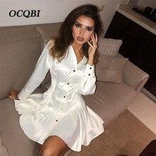 9cd22c50ea Plus Size 2019 Mulheres Primavera Sexy Festa Vestido de Noite Elegante Moda  Manga Comprida Mini Vestido Branco