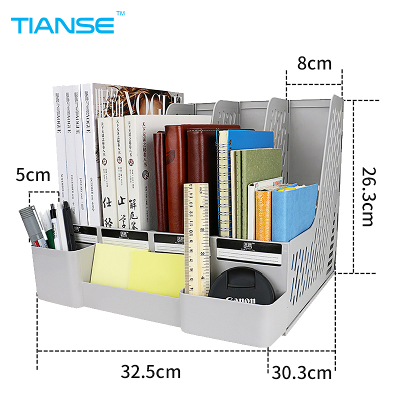 TIANSE grey document trays file holder with small cases plastic file organizer for desktop storage office suppiles classify