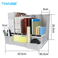 TIANSE Grey Document Trays File Holder With Small Cases Plastic File Organizer For Desktop Storage Office