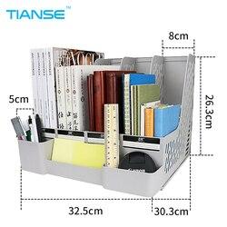 Tianse cinza azul bandejas de documento suporte de arquivo com casos pequenos organizador de arquivo de plástico para escritório de armazenamento desktop suppiles classificar