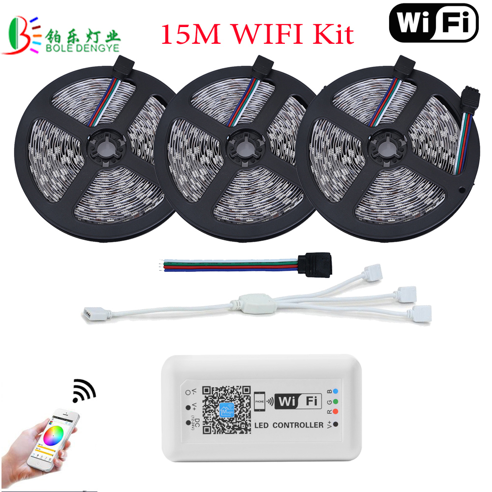 5050 LED WIFI RGB LED Strip 15M Tape Light Non Waterproof 5M 10M RGB 60LED/M Wireless WIFI Control Smart Phone Controller 10m 5m 3528 5050 rgb led strip light non waterproof led light 10m flexible rgb diode led tape set remote control power adapter