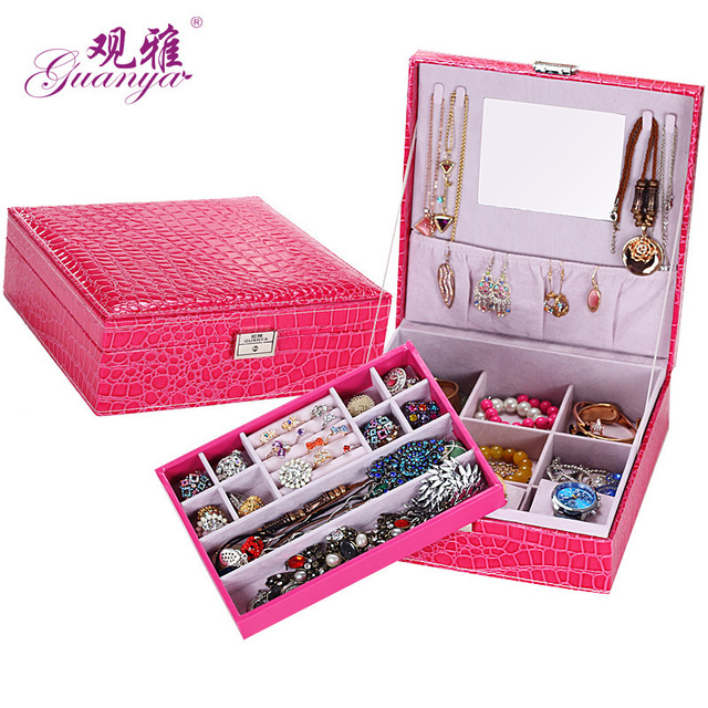 Fashion Alligator Grain Weeding Gift Large Jewelry Box Packaging Display Organizer 2 Layers Ornament Holders Boxes Free Shipping
