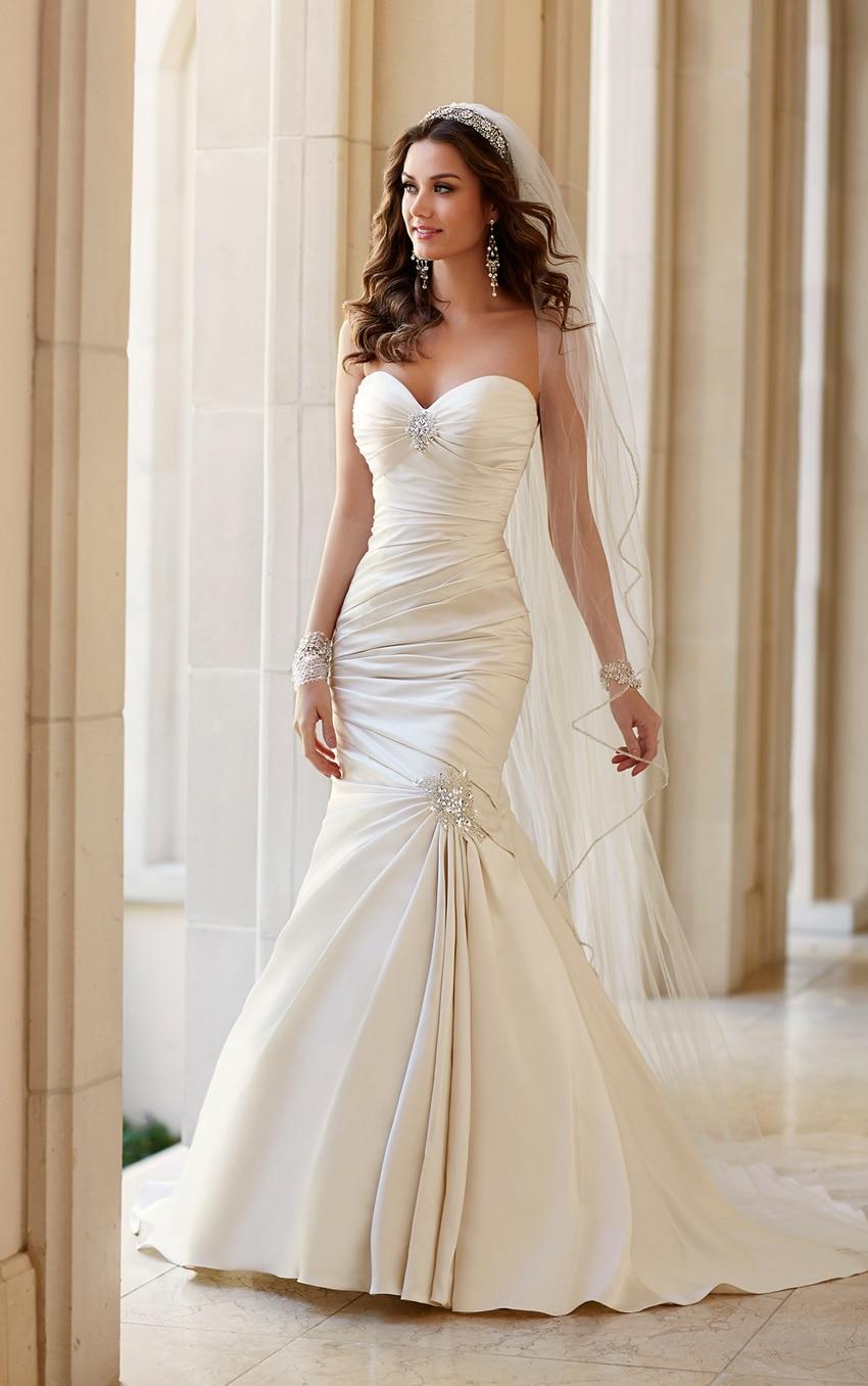 2015 Trumpet Mermaid Wedding Dresses Blush Train Ruched Bridal Gowns ...