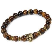 Leopard Tiger Eye Lion Head Bracelet Owl Buddha beads Bracelets Bangles Charm Natural Stone Bracelet yoga Jewelry Men Women