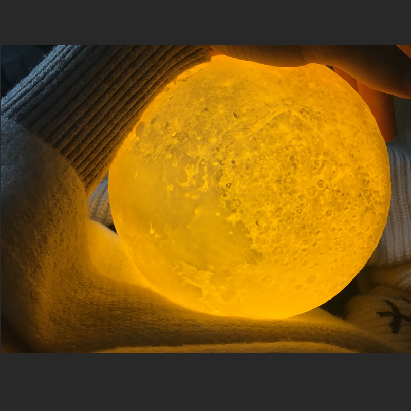 Leedome Rechargeable 3D Print Moon Table Lamp 2 Color Change Touch Switch For Bedroom Bookcase Decor Night Light Creative Gift