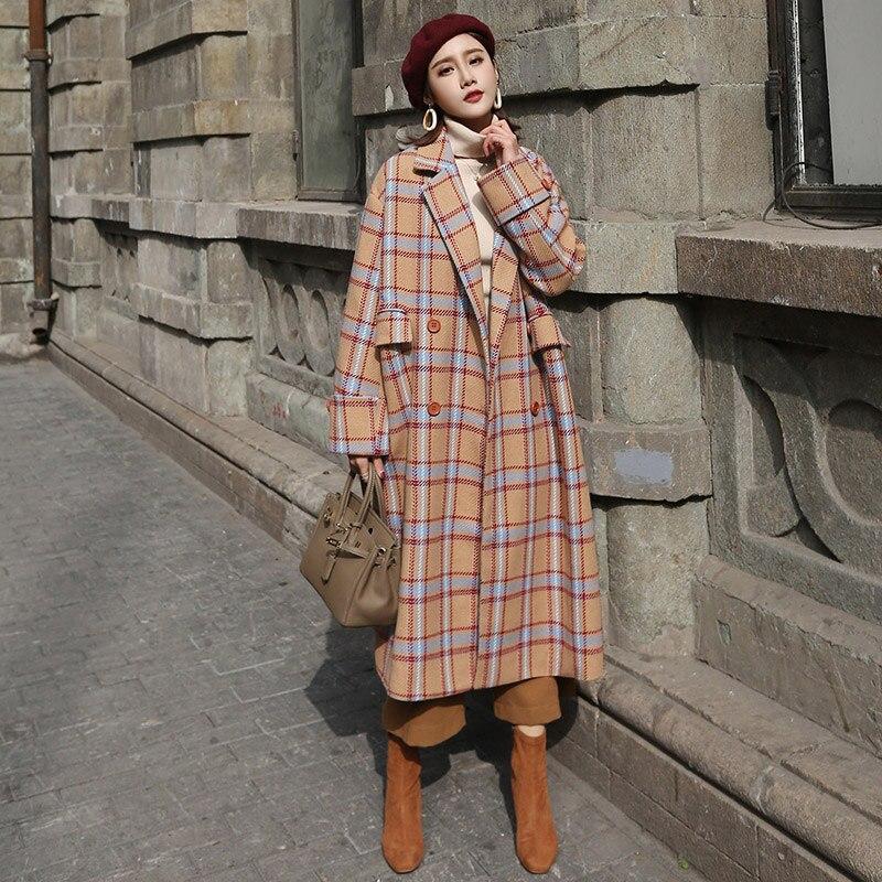 Créateur de TENDANCES 2018 Mode hiver Laine Brun Automne Manteau À Carreaux Femmes Long Manteau Dames