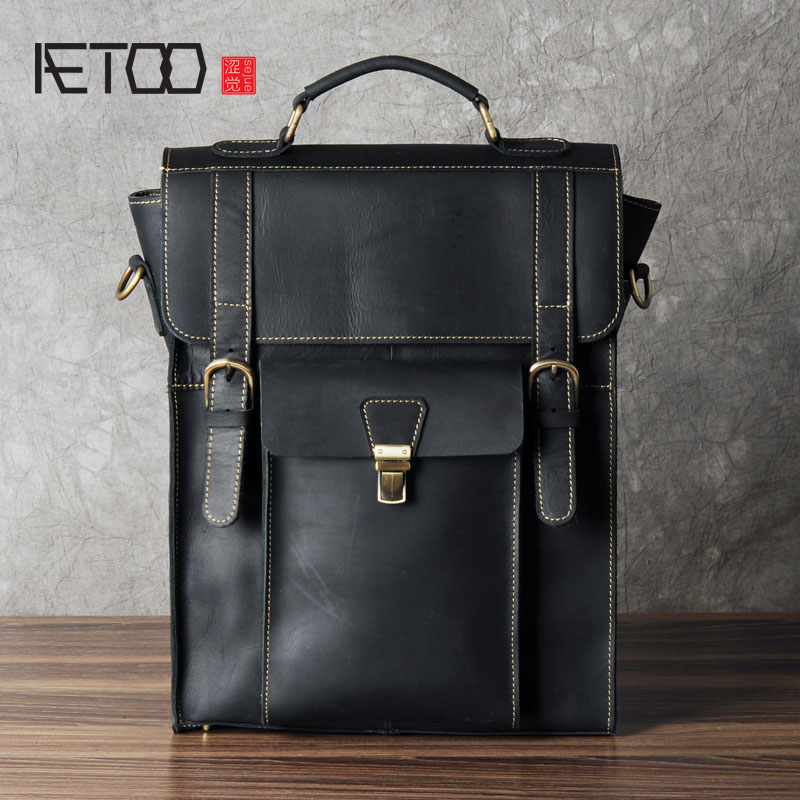 AETOO Leather Backpack male head layer cowhide tide Backpack Bag England College wind Crazy Horse leisure travel bag bag 2016 new manual brush color restoring ancient ways head layer cowhide backpack aslant bag college small