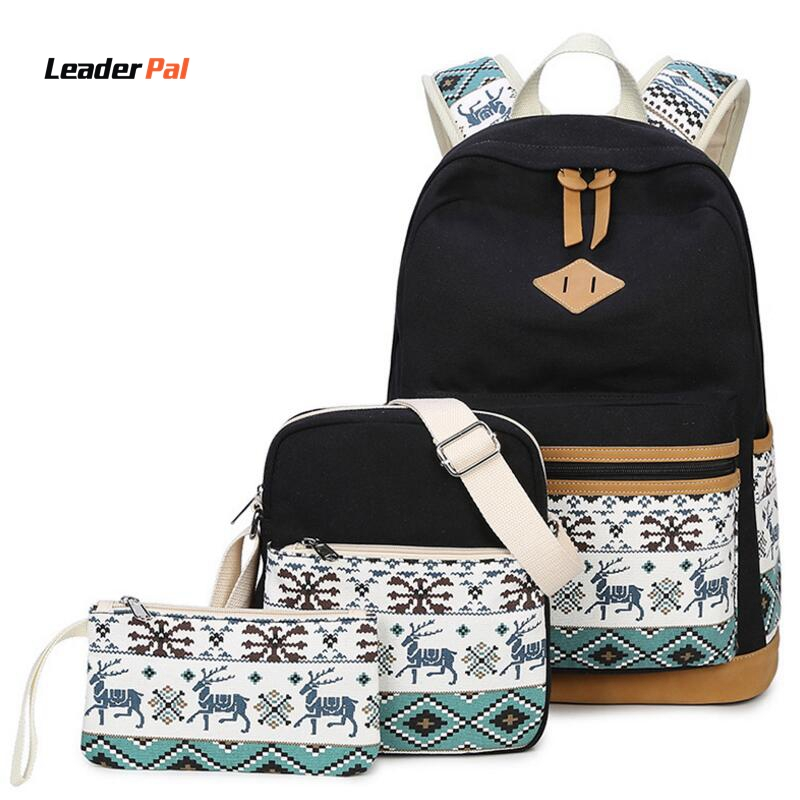 3Pcs Set Fashion Casual Travel Ruckpack Cute Women College Backpack Canvas Animal Printing Bag Women School