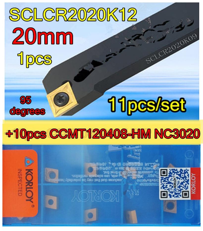 SCLCR2020K12 CNC Cylindrical turning tool 1pcs 10pcs CCMT120408 HM NC3020 11pcs set Processing steel
