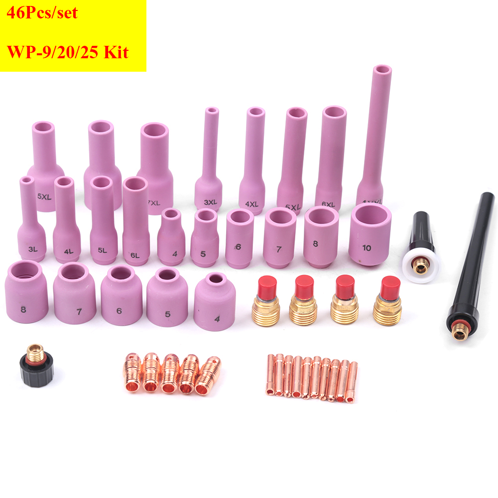 46Pcs TIG Welding Torch Set Gas Lens Collet Body Assorted Size Fit SR WP9 20 25