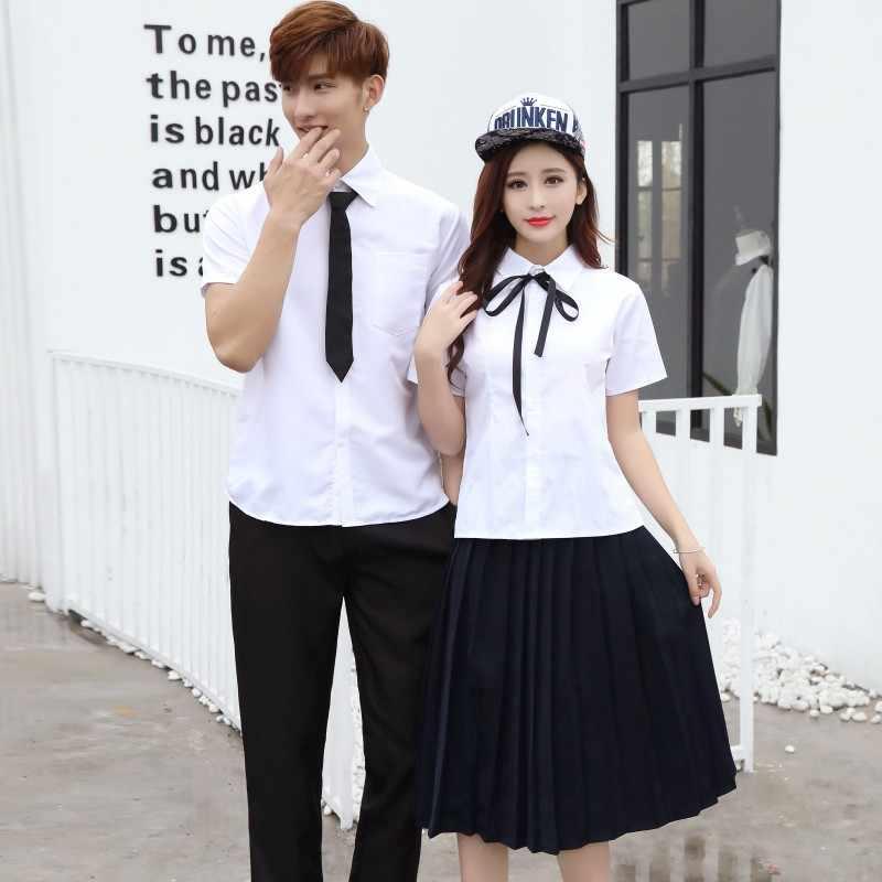 96cc88e223 Students Sailor School Uniforms British Junior High School Uniforms Men's  White Shirts Uniforms Pleated Skirt Sets
