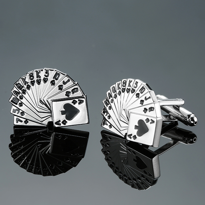 DY новый высокого качества латунь покер развлекать Для мужчин t серебряные запонки Для мужчин Французский рубашка запонки Бесплатная достав...