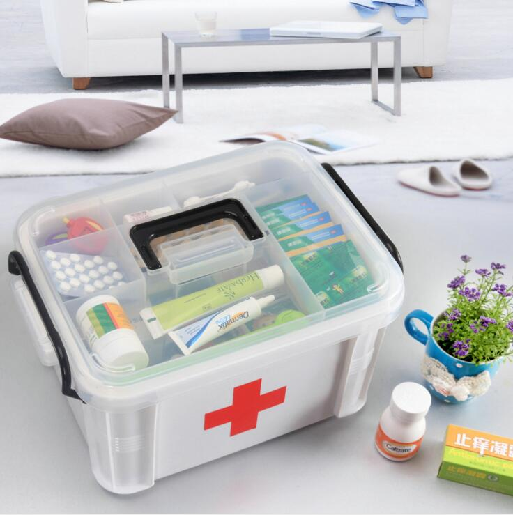 XZJ21---The plastic box family oversized storage box for emergency medical care medicine storage box portable household kits household product plastic dustbin mold makers