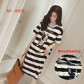 Summer Breast Feeding Dresses Casual Pregnancy Dress Plus Size Maternity Clothes Strip Pregnancy Clothes