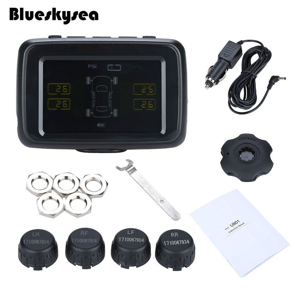 Car Vehicle Wireless Digital TPMS LCD Real Time Display 5V Tire Pressure Temperature Monitor 4 External Sensors System FSK Alarm digital tester 3in1 multifunction temperature humidity time lcd display monitor meter for car indoor outdoor greenhouse etc
