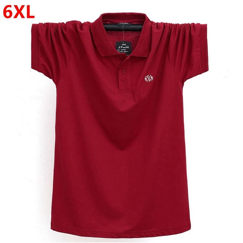 Summer Business casual men's short-sleeved   polo   shirt large size lapel plus size shirt tide half sleeve 6XL 5XL 4XL