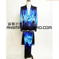 Blue Ice Frame Casual Suit Pant Costumes Men Singers Dancer New Fashion Printing Suit Blazer Stage