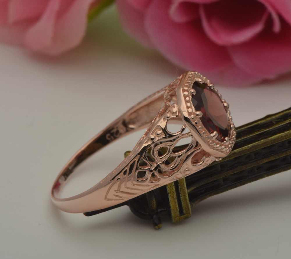 Szjinao procesamiento personalizado exquisito estilo occidental Diana Rosa oro Granada piedra 925 anillos de plata de ley