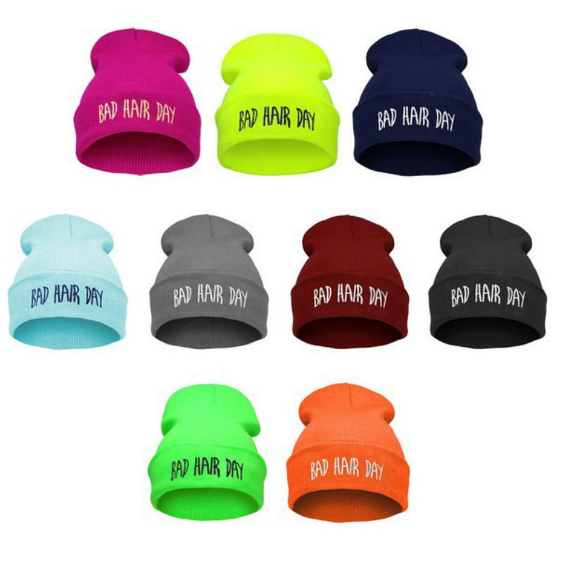 20 Colors Fall And Winter Europe And The United States Men And Women's Bad Hair Day Embroidery Beanie Kintted Wool Hat Hiphop